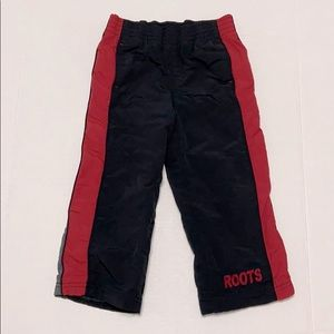 ROOTS Fleece Lined Track Pants Black Red